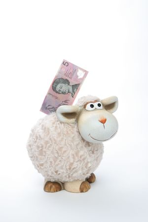 australian dollars: Sheep Coin Bank With Australian Dollars