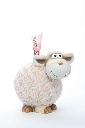 Sheep Coin Bank With Euros photo