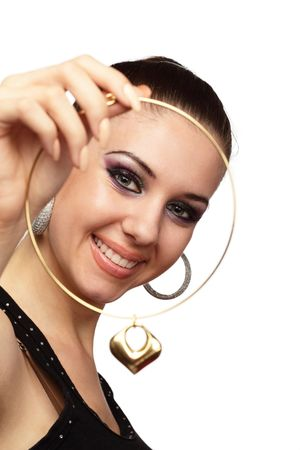 pendent: Happy girl with golden heart shaped necklace in her hand over white Stock Photo