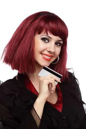 Happy woman holding credit card over white Stock Photo - 5060078