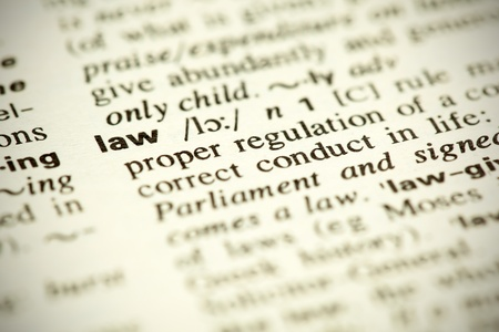 law book: A small DOF image of the dictionary definition of the word