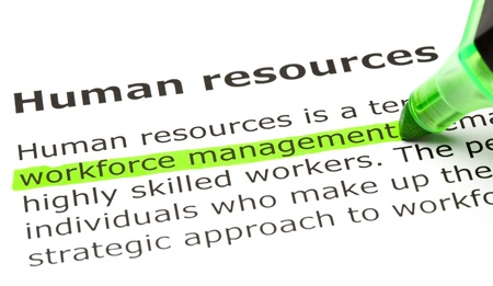 resource management: Workforce management highlighted in green, under the heading Human resources