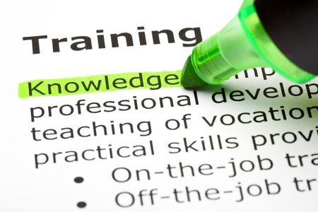 highlighter pen: Knowledge highlighted in green, under the heading Training Stock Photo