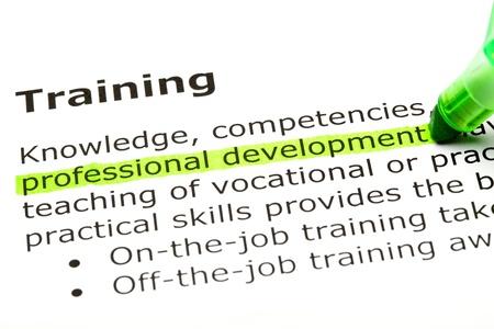 """""""El desarrollo profesional 'resaltado en verde, bajo el título' Formación '"""