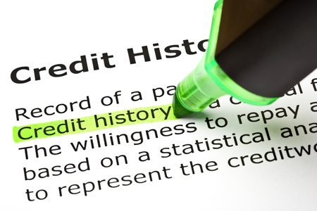 credit cards: Credit history highlighted in green, under the heading Credit history  Stock Photo