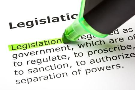 """Het woord """"Wetgeving"""" gemarkeerd in het groen, in de rubriek """"Wetgeving"""" Stockfoto"""