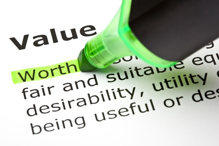 business value: The word Worth highlighted in green, under the heading Value Stock Photo