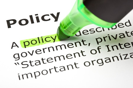 The word 'Policy' highlighted in green Stock Photo - 9553421