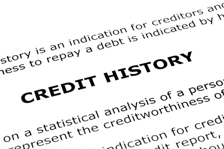 creditworthiness: CREDIT HISTORY heading printed on a white page