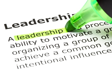 team leadership: The word Leadereship highlighted in green with felt tip pen