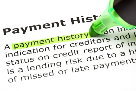 financial statements: Payment history highlighted in green with felt tip pen