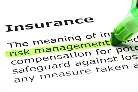 policy document: Risk management highlighted in green, under the heading Insurance