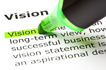 statements: The word Vision highlighted in green with felt tip pen Stock Photo