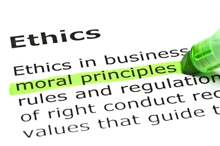 moral: Moral principles highlighted in green, under the heading Ethics
