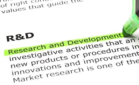 """""""Forschung und Entwicklung"""" in grün hervorgehoben, unter der Überschrift """"FuE"""""""