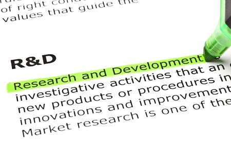 'Research and Development' highlighted in green, under the heading 'R&D' Stock Photo - 9619016