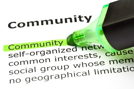The word 'Community' highlighted in green with felt tip pen Stock Photo - 9619023
