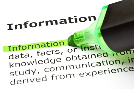 The word 'Information' highlighted in green with felt tip pen Stock Photo - 9619022