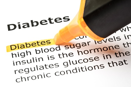 hyperglycemia: The word Diabetes highlighted in orange with felt tip pen
