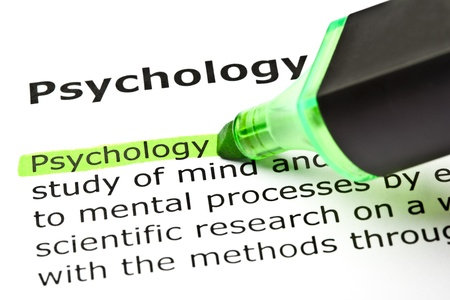 felt tip pen: The word Psychology highlighted in green with felt tip pen Stock Photo