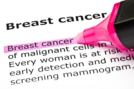 'Breast cancer' highlighted in pink with felt tip pen Stock Photo - 9619027