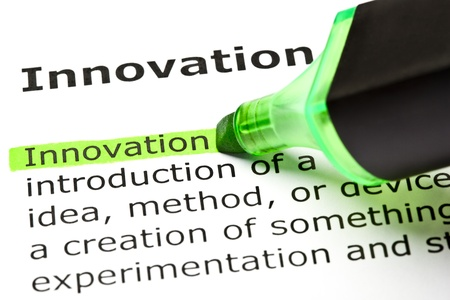 breaking new ground: The word Innovation highlighted in green with felt tip pen Stock Photo