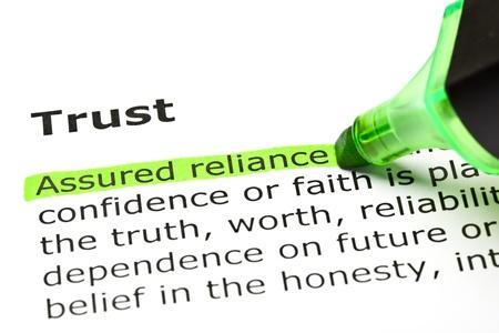 onestà: 'Assicurata fiducia' evidenziato in verde, sotto il titolo 'Trust' Archivio Fotografico