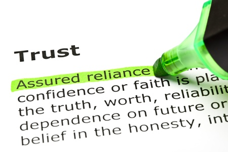 definitions: Assured reliance highlighted in green, under the heading Trust