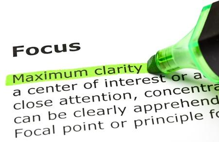 definici�n: 'M�xima claridad' resaltado en verde, bajo el t�tulo 'Focus'