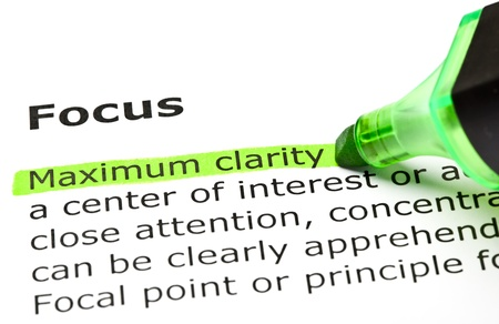 definitions: Maximum clarity highlighted in green, under the heading Focus Stock Photo
