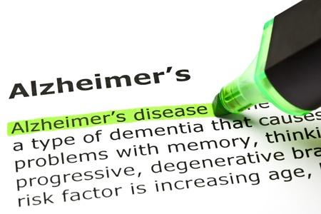 'Alzheimer's disease' highlighted in green, under the heading 'Alzheimer's' Stock Photo - 9649131