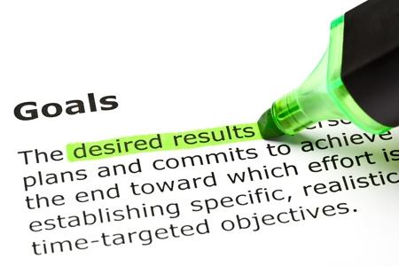 desired: Los resultados deseados 'resaltado en verde, bajo el t�tulo' Metas '