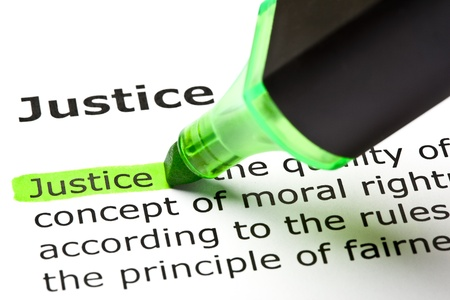 The word 'Justice' highlighted in green with felt tip pen Stock Photo - 9649132