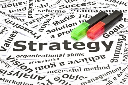nesnel: Strategy concept with many other related words and two textmarkers Stok Fotoğraf