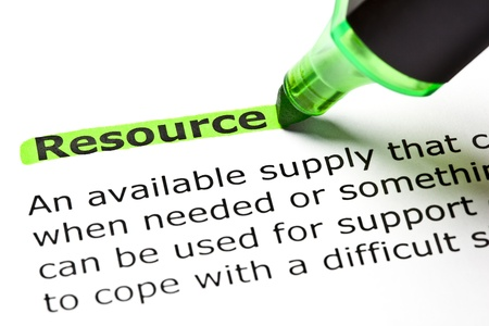 The word 'Resource' highlighted in green with felt tip pen Stock Photo - 9722587