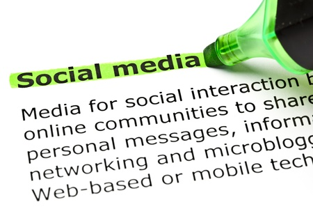 internet surfing: Social media highlighted in green with felt tip pen