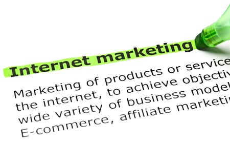 Internet marketing highlighted in green with felt tip pen photo