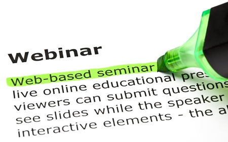 define: Web-based seminar highlighted in green, under the heading Webinar