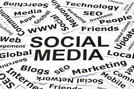 Notion de « Médias sociaux » avec les autres termes reliés Banque d'images