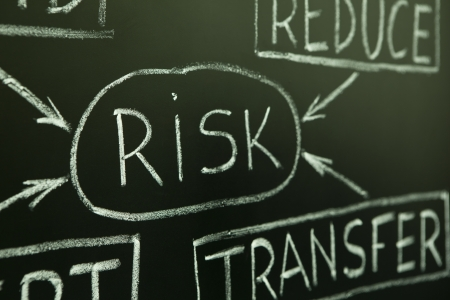 A close up of a risk management flow chart on a blackboard. Stock Photo - 9947349