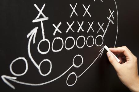 estrategia: Elaboraci�n de una estrategia de juego con tiza blanca en un pizarr�n de mano. Foto de archivo