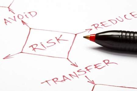 A close up of a risk management flow chart written with red pen on paper. Stock Photo - 9947354