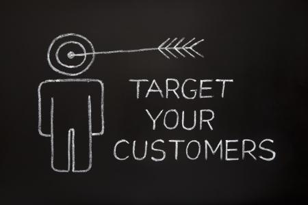 黒板に白いチョークで作った 'あなたの顧客をターゲット' の概念。
