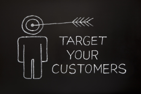 'Target your customers' concept made with white chalk on a blackboard. Stock Photo - 10045846