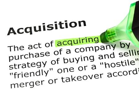 '取得' 見出し '買収' の下に、緑色で強調表示されます。