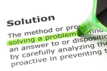 emphasising: 'Risolvere un problema' evidenziato in verde, sotto il titolo 'soluzione' Archivio Fotografico