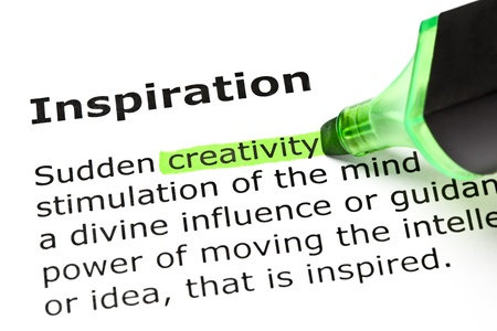 'Creativity' highlighted in green, under the heading 'Inspiration'  Stock Photo - 10045850