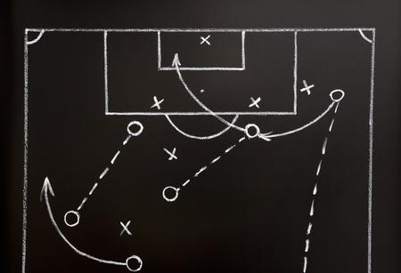 futbol soccer dibujos: Estrategia de juego f�tbol dibujada con tiza blanca en una pizarra. Foto de archivo