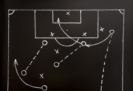 tactic: Soccer game strategy drawn with white chalk on a blackboard.