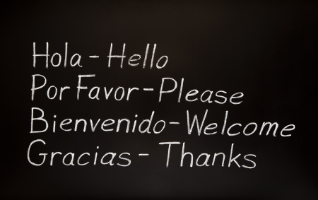 spanish language: Blackboard with spanish words and their english translations.